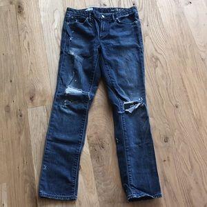 Gap Distressed Straight Jeans 29 Tall